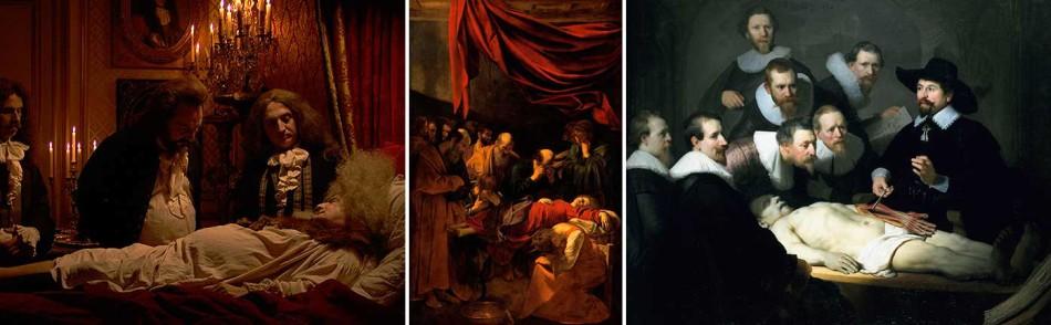 Caravaggio, Rembrandt, La mort Luis XIV, Anatomia