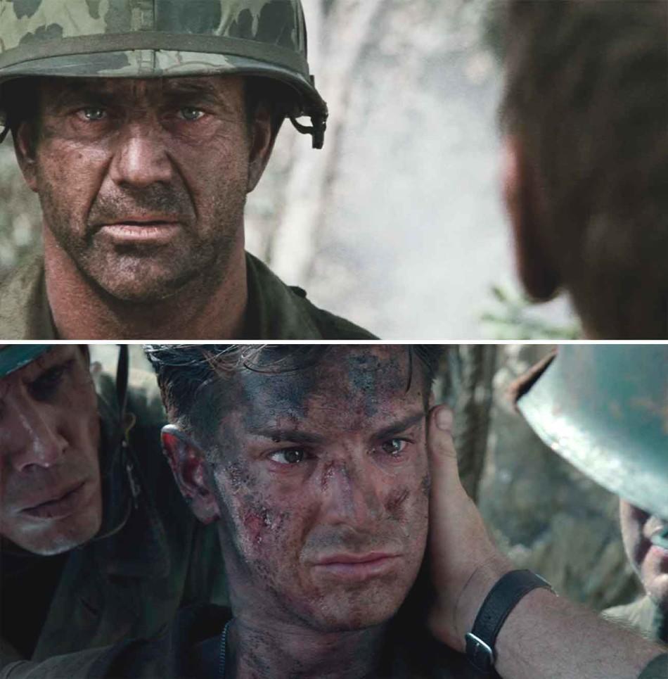 Arriba, Mel Gibson como actor en We Were Soldiers (2002). Abajo Andrew Garfield a las órdenes de Gibson en Hacksaw Ridge (2016).